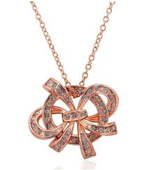 18K Gold Bow Design Crystal Pendant Necklace. $15.95 with free US & Int'l shipping