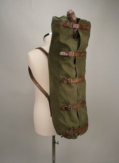 Vintage military leather & canvas large duffle bag: