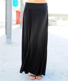 16.34$  Buy here - http://viqwk.justgood.pw/vig/item.php?t=7yzu0s33387 - Popular Women Black Banded Waist Full Length Maxi Skirt S 16.34$