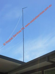 A view of the 76Ft mast with a 14DB 16 element yagi connected to a Telstra NextG Cel-Fi supplied by waykatservices.com.au note the 12 x 1 ton breaking strain stainless steel guy wires just before being tightened up. Thing 1 Thing 2, Regional, Utility Pole, Stainless Steel, Note