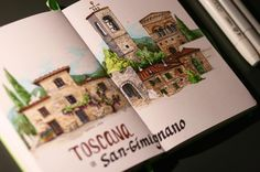 "172 Likes, 6 Comments - Illustration Скетчиsketches (@valeria_nova_art) on Instagram: ""#tuscany sketch Materials: Markers #copicmarkers #touchmarkers , sketchbook #leuchtturm1917"""