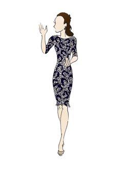 Déjeunerà Canada duchesse de Cambridge Kate Middleton mode impression 8,5 « x 11 » Erdem Cecile Dress