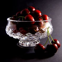 """Bowl of Cherries""  Still life photo of cherries in a crystal bowl.