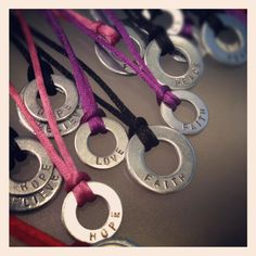 My fundraiser at Relay for Life this past weekend. Hand Stamped double and single washer on one size fits all satin cording. Sold out and all proceeds went to the American Cancer Society. What an amazing event and Team Got Hope? rocked. Check out my site rdesignsmith.com