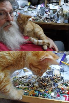 Work Table Wednesday for 12/20/17 George is my help cat this morning. He's choosing which beads to go with todays work.