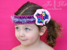 Handmade Crochet Rainbow Funky Headband  for all ages.  So Fun and Colorful... Any Girl will love it!  This headband is soft and stretchy, fits comfortably and it has a button closure on the back.    SIZE (1.75 inch wide) & (2.5 inch wide): From newborn to adult    Please note, that colors and buttons will slightly very from headband to headband as each one is an original.    $ 18.00 CAD