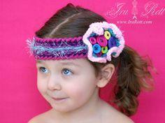 funki headband, crochet headband, button closur