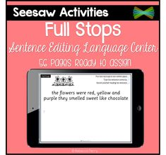 Seesaw Activities - Full Stops - Sentence Editing - Language Center - Digital Resource - Paperless Classroom - Seesaw App - Seesaw Ideas