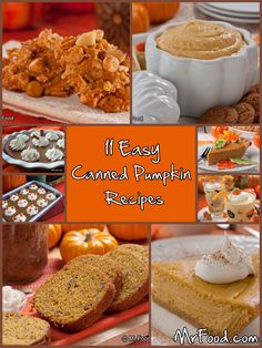 11 Easy Canned Pumpkin Recipes - Get in the spirit of the fall season with these… Fresh Pumpkin Pie, Baked Pumpkin, Pumpkin Pumpkin, Easy Canned Pumpkin Recipes, Fall Recipes, Holiday Recipes, Slow Cooker Pumpkin Soup, Delicious Desserts, Yummy Food