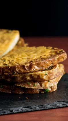 Buttery, herby toast with a crispy Parmesan crust is what garlic bread aspires to be. Savoury French Toast, French Toast Sandwich, Tastemade Recipes, Breakfast Crepes, Marinated Salmon, Tasty Bakery, Sandwiches, Parmesan Crusted, Exotic Food