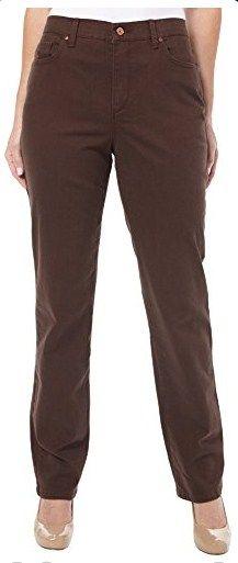 Gloria Vanderbilt Womens Amanda Embroidered Jeans 14 Dark roast brown
