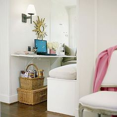 Hidden Assets: Take advantage of square footage -- the light-filled alcoves are often the perfect spot to squeeze in a desk. Two 1 x 4s painted white and mounted on shelving brackets create a handy work zone in this second-story cubby. Built-in benches boost the cozy quotient and allow the space to double as a dining table for two.