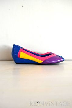 vintage 1980s shoes  80s neon patent leather by shopREiNViNTAGE, $ 56.00