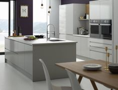 View our Handleless Kitchen in Pebble, also available in 6 standard and 30 special colours. Stop dreaming, and start designing your new Wren kitchen. Handleless Kitchen, Gloss Kitchen, Kitchen Island Gloss, Wren Kitchen, Country Kitchen, Luxury Kitchens, Home Kitchens, Modern Kitchens, Contemporary Kitchens