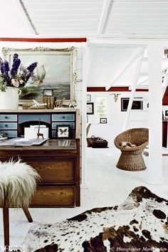 love the all white with more traditional, rustic furniture and decor