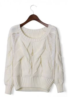white cable knit sweater.