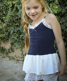 Look at this #zulilyfind! Navy Ruffle Tiered Dress - Toddler & Girls by Pretty Cute #zulilyfinds