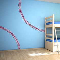 Baseball Stitches Wall Decal #wallums
