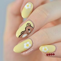 nail art designs — Rilakkuma Peek-a-boo! Rilakkuma wants to say hi! I've literally had t… Kawaii Nail Art, Cute Nail Art, Cute Nails, My Nails, Nail Art Pics, Best Acrylic Nails, Acrylic Nail Designs, Nail Art Designs, Animal Nail Designs