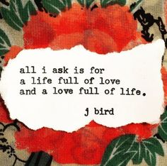 all I ask is for a life full of love and a love full of life. - jbird