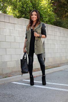 Olive Utility Jacket + Black Tank + Leather Panel Leggings + Black Ankle Boots