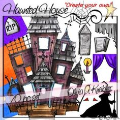 Haunted Houses Clip Art And Halloween Haunted Houses On