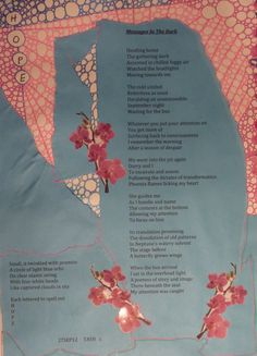 Messages In The Dark-Poetry, collage and drawing with gel pens from the Book of Legend-Ravens At My Window/Roses On My Wall  2012  Deborah K. Tash