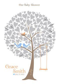 Baby Shower Tree Guest Book Poster, Nursery Wall Art, Family Tree, Personalized Print w/ Love Birds & Swing, 13x19