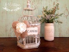 Rustic Wedding Bird Cage, Wishes/Advice/Love Notes/Cards, Baby Shower, Bridal Shower, Burlap Wedding Decor on Etsy, $42.10 CAD