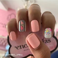 51 stunning trendy manicure ideas e. Conception of short acrylic nails 34 … Love Nails, Pretty Nails, My Nails, Short Nail Designs, Nail Art Designs, Nail Manicure, Manicures, Light Pink Nails, Cute Acrylic Nails