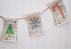 Combine old book pages, stamps, and washi tape to create this Jolly Book Page DIY Banner. For DIY Christmas decorations that make your house into a merry home, you can't beat a holiday banner. Diy Christmas Garland, Christmas Wall Hangings, Holiday Banner, Christmas Banners, Diy Garland, Magical Christmas, Christmas Images, Family Christmas, Beautiful Christmas