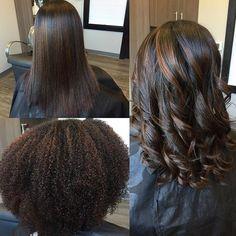 Natural hair flat iron & curl process