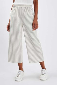 Pinstripe Wide Leg Cropped Trousers - The Ankle - We Love - Topshop