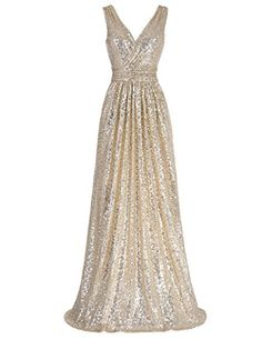 Sequins all over Full Length Sexy Bride Dress Light Gold Size 10 KK199 -- Want additional info? Click on the image. (This is an affiliate link and I receive a commission for the sales)