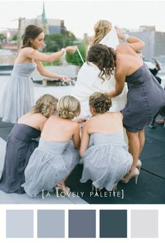 Love these light grey/bluish dresses for bridesmaids!