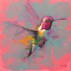 Bird Painting Acrylic, Hummingbird Painting, Watercolor Paintings, Bird Paintings, Colorful Animal Paintings, Bird Artists, Pastel Art, Painting Inspiration, Landscape Paintings