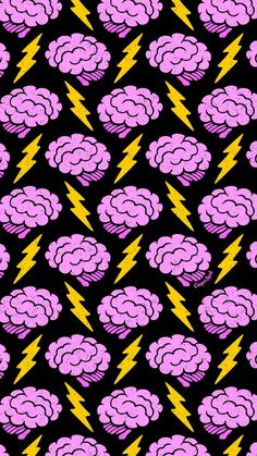 Brains Cute Spooky Creepy Halloween Brain Lightning Electric Repeat Pattern Wallpaper Phone iPhone M Et Wallpaper, Handy Wallpaper, Wallpaper Animes, Aesthetic Iphone Wallpaper, Lock Screen Wallpaper, Pattern Wallpaper, Aesthetic Wallpapers, Wallpaper Backgrounds, Iphone Backgrounds
