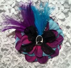 Blue and Purple Flower Embellished With by dropdeaddollface, $11.99