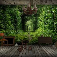3D-Wallpaper-Mural-Green-Forest-Entry-Door-Wall-Paper-Background-Restaurant