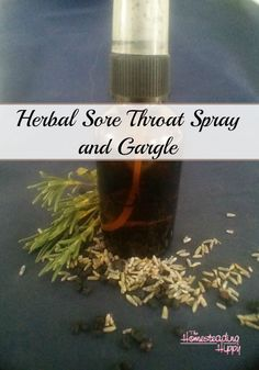 Got a sore throat?  Try this safe, gentle spray and gargle for effective and fast relief! The Homesteading Hippy #homesteadhippy #herbal #herbalist #sorethroat #lavender #elderberry #natural