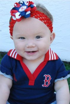 Boston Red Sox Inspired Bottle Cap Hair Bow and Headband