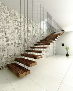 Modern Staircase Design Ideas - Stairs are so typical that you do not give them a reservation. Take a look at best 10 examples of modern staircase that are as sensational as they are . Small Staircase, Floating Staircase, Spiral Staircase, Staircase Ideas, Staircase Remodel, Banisters, Stair Railing, Iron Railings, Wood Railing