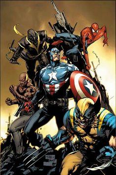 Cap, Spidey, Wolverine, Luke Cage, Ronin.