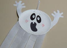 Paper Plate Ghost Craft: Halloween Crafts for Kids and Homemade Decorations - Kaboose.com