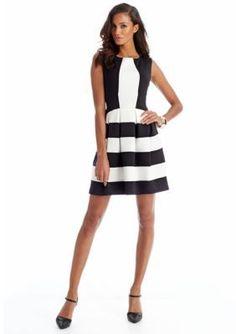 CYNTHIA Cynthia Rowley  Colorblock Fit  Flare Dress