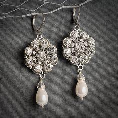 ALLURA, Bridal Chandelier Earrings, White or Ivory Pearl and Crystal Wedding Earrings, Rhinestone Bridal Earrings, Victorian Wedding Jewelry...