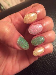 Glitter gel nails - Easter pastels