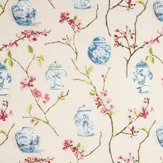 Buy John Lewis Oriental Jars Fabric, Pink online at John Lewis