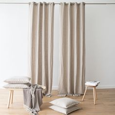 ach curtain is crafted from prewashed heavyweight linen, and has eight eyelet grommets to fasten through a curtain pole for smooth opening and closing. Grommet curtains also hang in clean lines when open, creating an uncluttered feel. Grommet Curtains, Curtain Fabric, Panel Curtains, White Linen Curtains, Neutral Curtains, Linen Bedroom, Master Bedroom, Swing Design, Curtain Poles