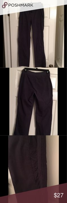 """XCVI Gray Casual Rouched - NWOT-Size Small XCVI Gray Casual Rouched - NWOT-Size Small- Ribber elastic waistband w/Drawstring Closure- at front for adjustable fit- 2 front pockets- Rouched Panels at Lower leg- 96% Cotton/4% Spandex - Approximate Measurements (lying flat): Waist 14"""" Inseam :30"""" XCVI Pants Straight Leg"""